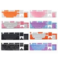 لوحة مفاتيح شفافة مزدوجة النار PBT 104 أغطية مفاتيح بإضاءة خلفية لمفتاح لوحة مفاتيح Cherry MX