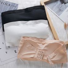 Bandeau Bra Ice-Silk Brassiere Sexy Lingerie Strapless Solid-Color Women Wire-Free Comfortable