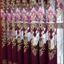 European Style Curtains for Living Dining Room Bedroom High-end Hollow Chenille Embroidery Curtains Tulle  Product Customization