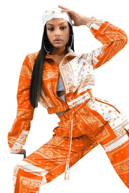 Paisley Bandana Print Two 2 Piece Set Women Fitness Sweatsuit Zipper Up Sweatshirt + Jogger Pants Set Tracksuit Vintage Outfits 4