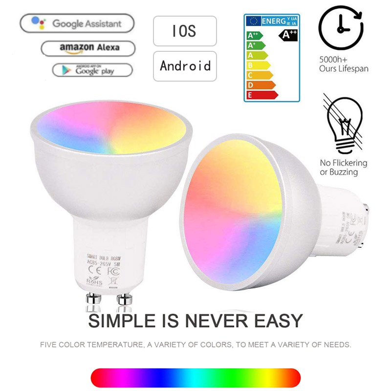 Smart Light Bulb WiFi GU10 RGBW 5W Led Dimmable Compatible With Alexa & Google Home Remote Control By Smartphone Tablet