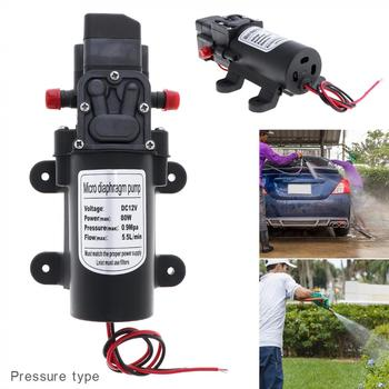 12V 80W 5.5L/min Self-suction DC Mini Diaphragm High Pressure Electric Cars Wash Pump with  Red Dust Cap for Car / Home / Garden 1pc electric mini vacuum air pump high pressure suction diaphragm pumps 5l min 80kpa dc 12v with holder for chemical industry