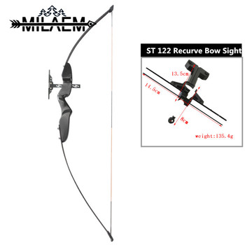 Archery Straight Bow Recurve Takedown Bow 40lbs Hunting Bow With ST122 Recurve Bow Sight Right Hand Shooting Hunting Accessories 40lbs straight bow for right hand and left hand 50 inches with arrows for youth archery hunting shooting child recurve bow