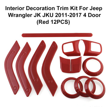 Hot Interior Decoration Trim Kit Steering Wheel Center Console Air Outlet Trim Door Handle Cover for Jeep Wrangler JK JKU 2011-2