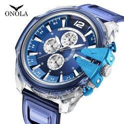 ONOLA brand fashion casual personality crown men's watch chronograph plastic quartz watch male Relogio Masculino Dropshipping