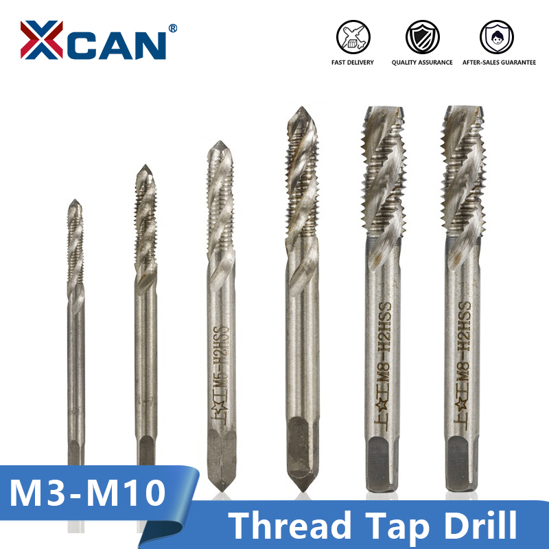 XCAN 2pcs M3/M4/M5/M6/M8/M10 Spiral Flute Screw Thread Tap Machine Plug Tap HSS Screw Hole Tap Drill Set Metalworking Tools