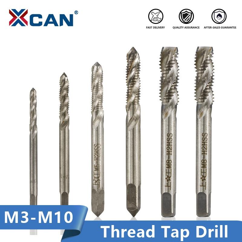 XCAN 2pcs M3/M4/M5/M6/M8/M10 Spiral Flute Screw Thread Tap Machine Plug Tap HSS Screw Hole Tap Drill Set Metalworking Tools
