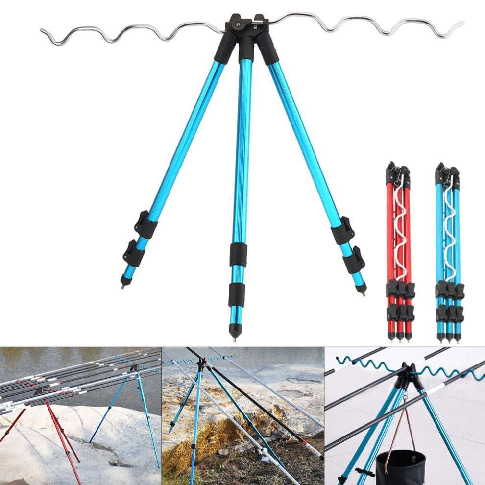 Aluminum Alloy Telescopic 7 Groove Fishing Rods Holder Collapsible Tripod Stand Sea Fishing Pole Bracket Blue Red Optional