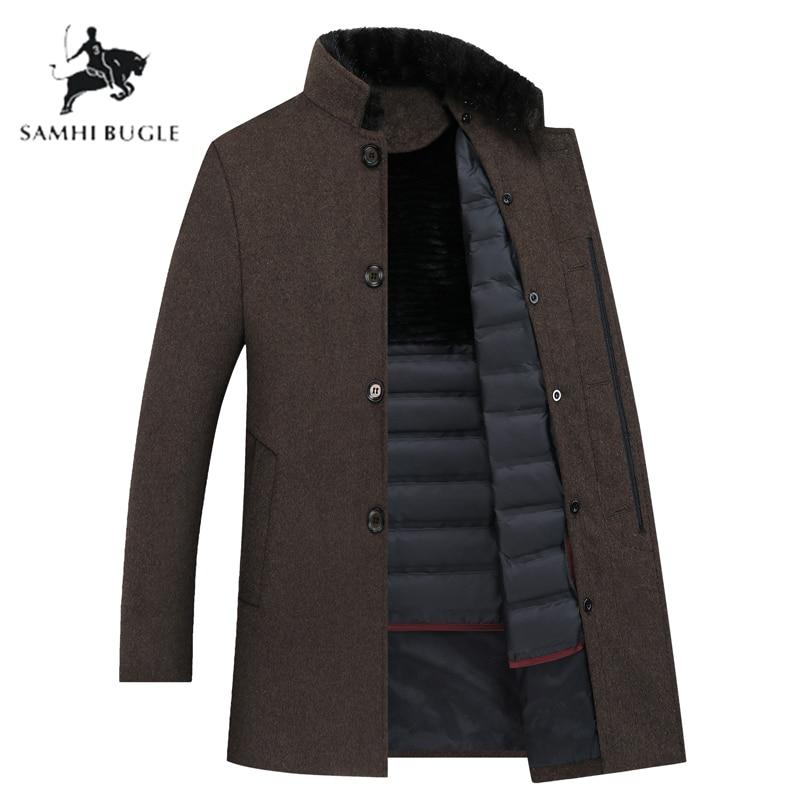 Gabardina de lana SAMHI BUGLE para hombre, chaquetas de lana de plumón de pato blanco de 90% para hombre, abrigo de lana para hombre, abrigo para hombre de talla grande M XXXL 8866 - 3