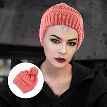 1pc Winter Warm Knit Hat Simple Pom Hat Crochet Hairball for