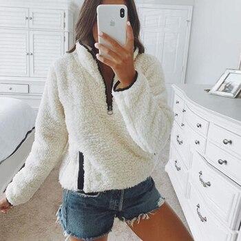 Women Coat Fashion Long Sleeve Zipper Top Winter Warm Pocket Top for Shopping Daily Wear