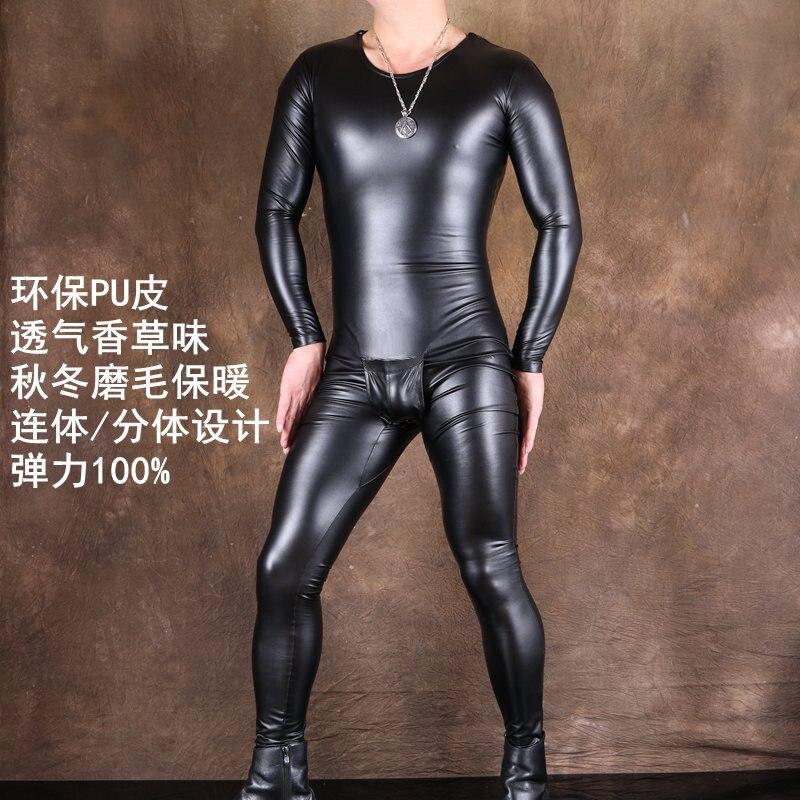 Fad Thin Fleece PU Leathe Body Shaper Hot Shapers Leotard Camiseta Masculina Long Sleeve T Shirt Jumpsuit Sexy Black Bodysuits