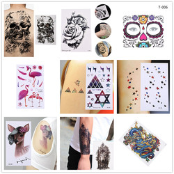 1PCS Waterproof Temporary Tattoo Sticker Crow Tiger Ganesha Wolf Forest Tatto Stickers Flash Tatoo Fake Tattoos For Women Men