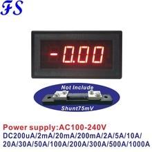 AC 220V 100-240V Amperímetro 2mA YB5135B 20mA 200mA 2A 10A 20A 50A 100A 200A 500A LEVOU Amperímetro Digital DC Plus Minus Atual