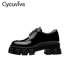 Platform-Loafers Oxfords-Shoes Chunky Round-Toe Black Ladies Sole Popular Celebrity Runway-Style