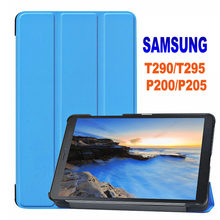 "Tablet Case PENUTUP UNTUK Samsung Galaxy Tab 8.0 ""SM T290 T295 T297 2019 SM-P200 P205Smart Magnetic Folding Stand case Kulit PU(China)"