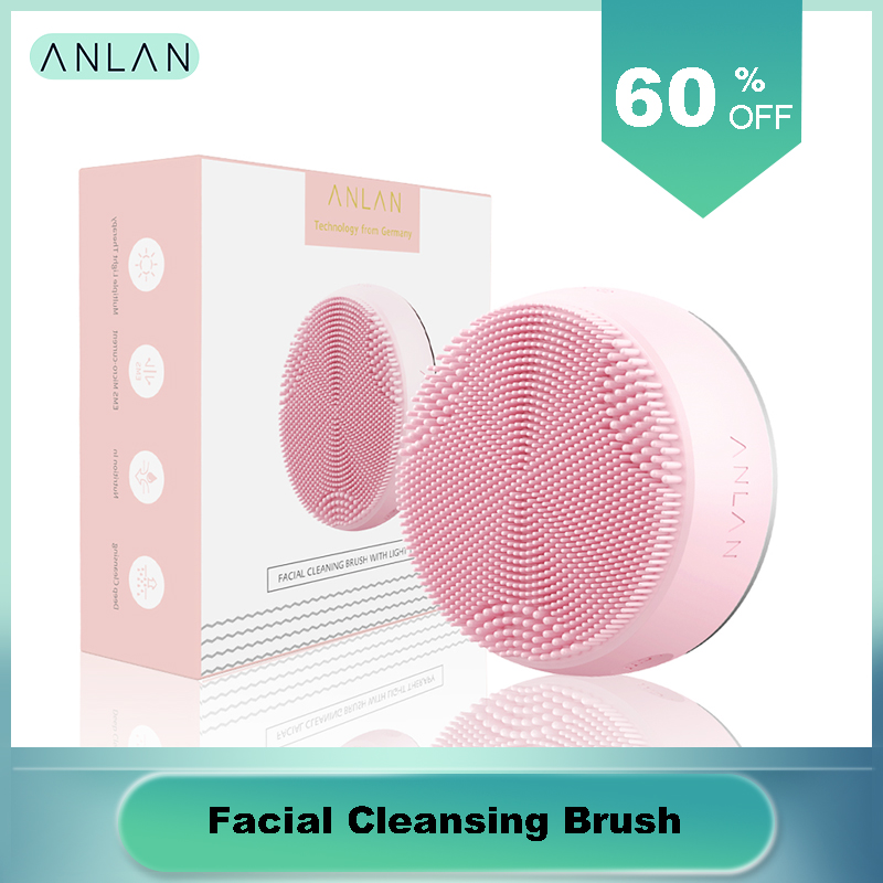 Facial Cleansing Brush With Light Therapy Deep Cleansing Face Waterproof Silicone Facial Massage Hot Compress LED Light Therapy