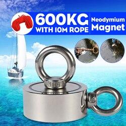600 كجم D94mm مغناطيس نيوديميوم قوي مزدوج الجانب البحث خطاف مغناطيسي قوة قوية في أعماق البحار إنقاذ الصيد المغناطيس مع حبل 10 متر