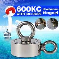 600Kg D94mm Starke Neodym Magnet Doppel seite Suchen magnet haken starke leistung Tiefe Meer Salvage Angeln magnet Mit 10m Seil