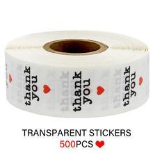 1 дюйм Красный сердце круглый спасибо наклейки печать этикетки наклейки для скрапбукинга для пакета канцелярских принадлежностей ПВХ прозрачный 500шт