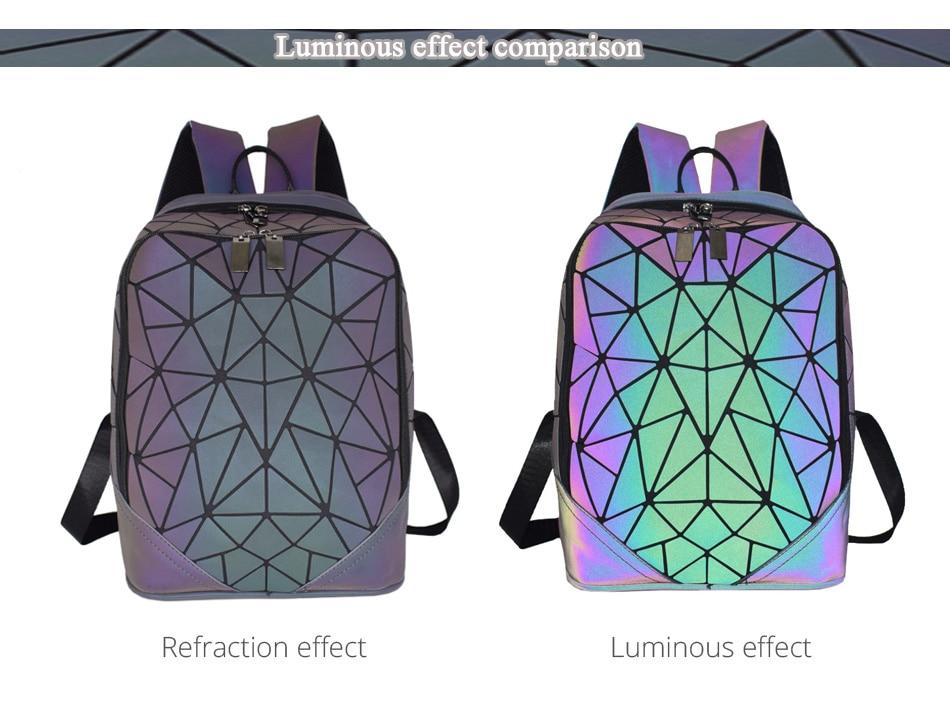 Geometric Luminous Backpack Holographic Reflective Bag - easeable.com