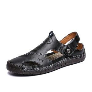 Image 2 - חדש גברים עור סנדלי קיץ זכר נעלי חוף סנדלי איש אופנה נוח חיצוני מקרית סניקרס קלאסי גברים נעלי Size48