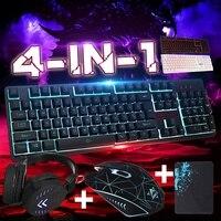 Mouse pad mecânico com fio usb  mouse pad para jogos iluminado  4 unidades  conjunto de acessórios para computador desktop backlight