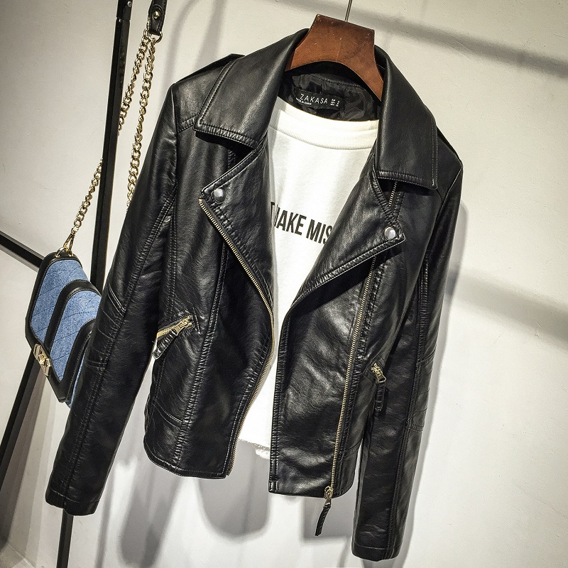 Women Black Faux Leather Jackets 2019 Autumn Slim Cool Lady Basic Jacket Coats Sweet Female Zipper Femme Outwear Coat Plus Size