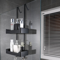 304 Stainless Steel Bathroom Accessories Shower Basket Matte Black Corner Shelf Hanging Shampoo Organiser Shelf