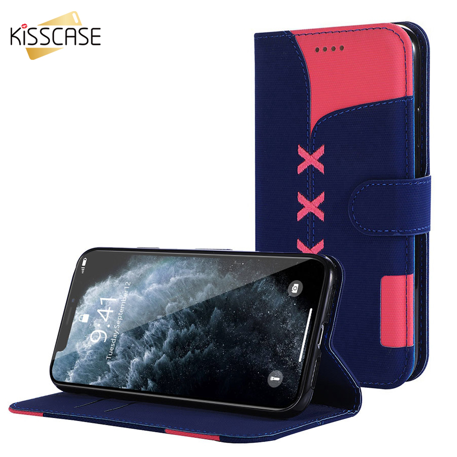 KISSCASE Stand Wallet Flip Case for iPhone 8 7 6 6S Plus Fashion Cloth Կաշվե ծածկը iPhone XR XS MAX X 8 7 6 S Plus- ի համար