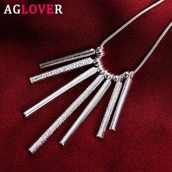 AGLOVER 925 en argent Sterling 18 pouces serpent chaîne givré 7 pilier pendentif collier pour femme hommes mode charme bijoux cadeau