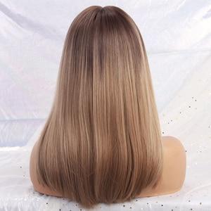 Image 3 - ALAN EATON Dài Ombre Nâu Tóc Vàng Tóc Giả Với Nổ Hóa Tổng Hợp Cho Nữ Màu Đen Phi Thẳng Tự Nhiên Đảng Giả Tóc bộ Tóc Giả
