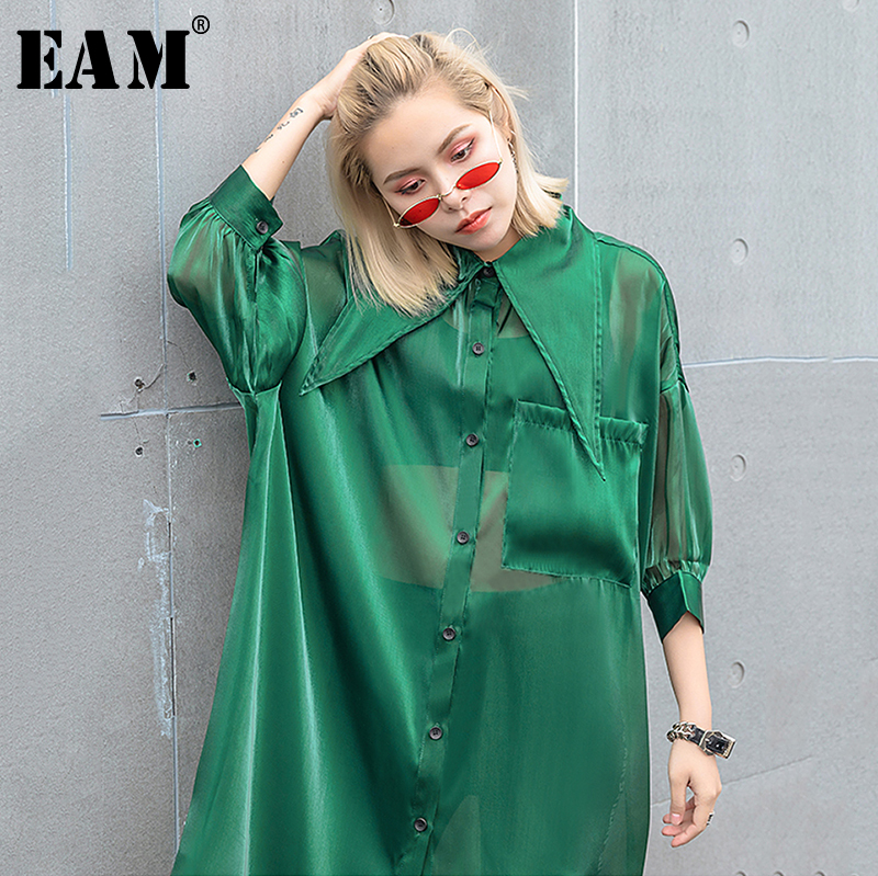 [EAM] Women Green Organza Sunscreen Perspective Big Size Blouse New Lapel Loose Fit Shirt Fashion Spring Autumn 2020 1T166
