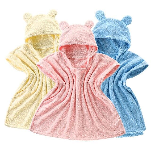 Super Soft Cute Kids Bear Bathrobe Hooded Bath Towel Children Baby Cloak Breathable Infant Beach Towel Towel Baby Stuff