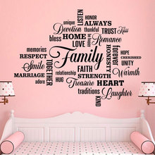 Family Lettering Wall Sticker Vinyl Home Decor Living Room Bedroom Smile Quotes Decals Removable Self-adhesive Art Murals A355 цена