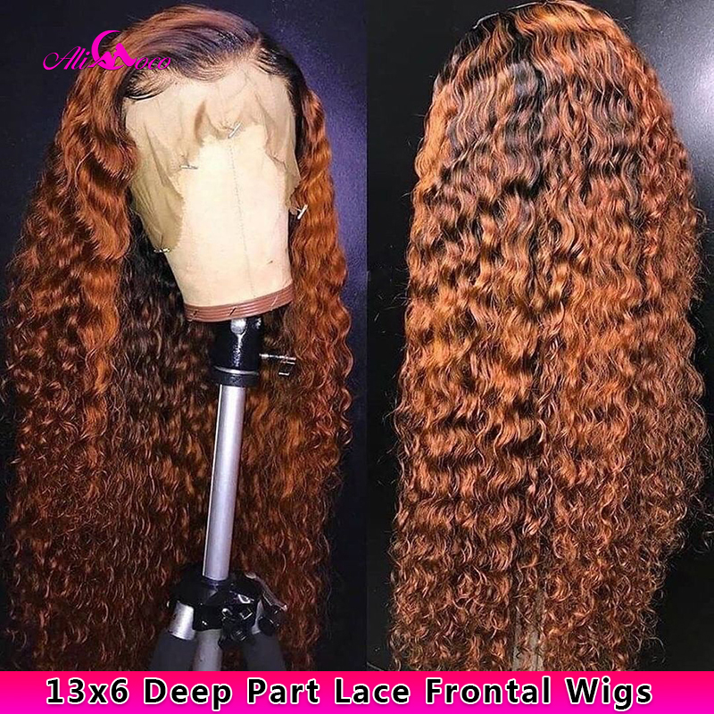 Ali Coco 13x6 Deep Wave Human Hair Lace Front Wigs 1B/350 /Orange Ginger Ombre Color Brazilian Remy Deep Wave Wigs Pre Plucked