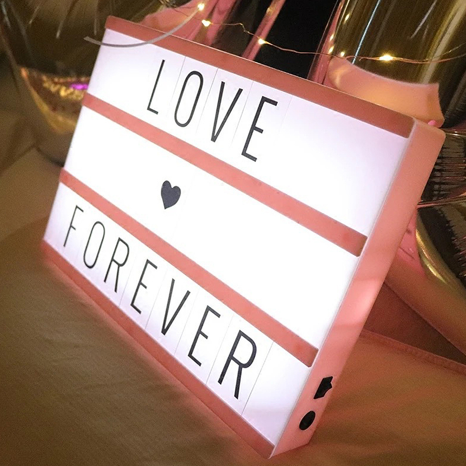 Party Decoration A4 Cinematic Lightbox Battery or USB Powered Illuminated Light Up Box Sign Pukkr 205 Letters /& Emoji