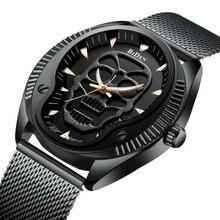 BIDEN Black Cool Skull Watch Men Punk Quartz Mens Watches Top Brand Luxury Steel Mesh Strap Fashion Dress Wristwatches Xmas Gift недорого