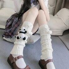 Leg-Warmers Thigh Socks Furry Lolita Long Winter Women for Knit