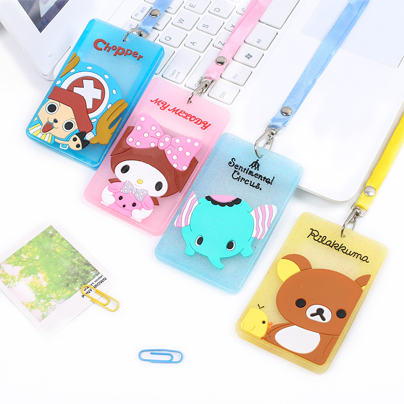 YIYOHI Cute Chi's Stitch Cat Bank Credit Card Holders Unisex PVC Neck Strap Card Bus ID Holders Identity Badge Lanyard