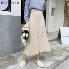 BGTEEVER 2019 Autumn Winter High Waist Slim A-line Women Knitted Skirts Jacquard Weave Female Sweater Skirts Vestidos Femme(China)