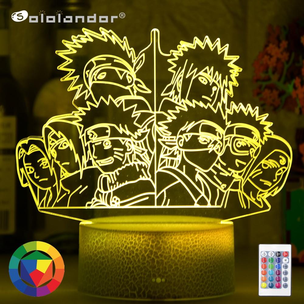 Новейший светодиодный Ночной светильник, настольный 3d светильник в стиле японской аниме, 7 дюймов, Obito, Uchiha, Kakashi, Hatake, Rin, noхара, Sasuke, Sakura, Haruno