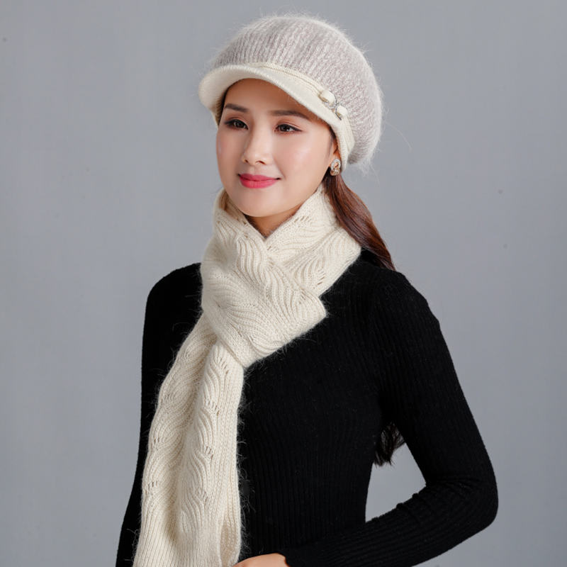 2piece Set Hat And Scarf Gift For Mother Grandmother Women Winter Warm Cap Solid Scarves Thick Knitting Scarf Rabbit Beanie Acce