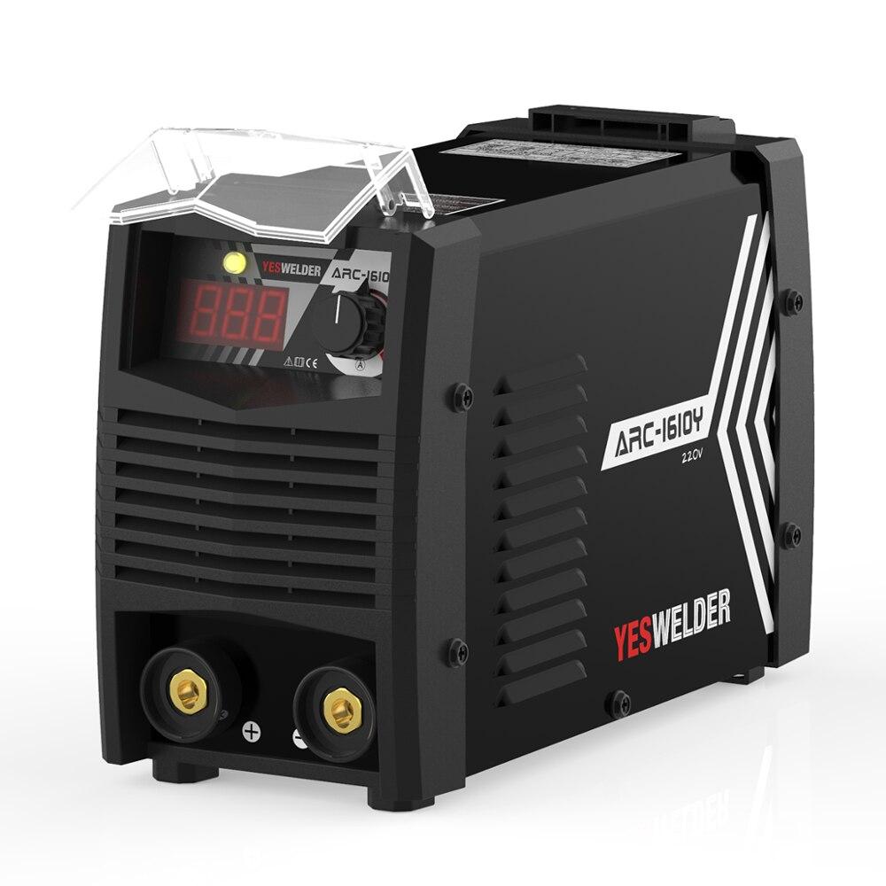 YESWELDER przenośna maszyna do spawania łukowego jednofazowy 220V 160Amp Stick spawacz cyfrowy falownik IGBT MMA spawarka wtyczka Euro