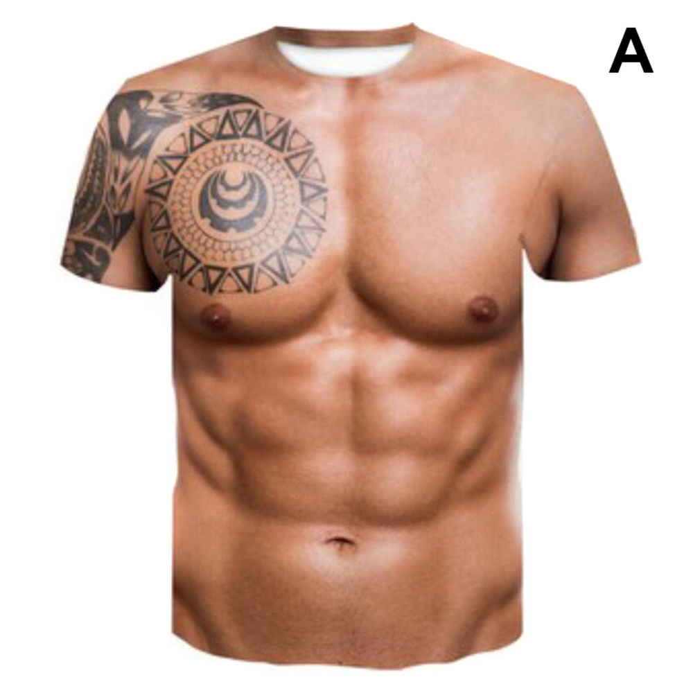 2021 New Muscle Tattoo Print T-Shirt Funny sleeves men Short Sleeve 3D Digital Print summer