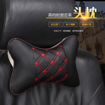 2020 brand new arrival car neck pillows both side pu leather single headrest fit for most cars filled fiber universal car pillow image