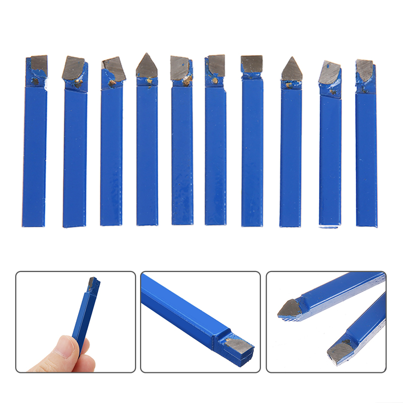 "10pcs Alloy Carbide Lathe Tools 1/4"" Shank Blue Brazed Tipped Turning Tooling Welding Tool Set"