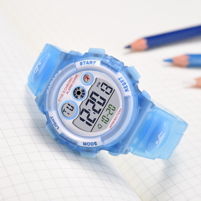 Esportes dos Desenhos Relógio para Meninos Meninas de Borracha para Crianças Relógios de Pulso Panars Crianças Relógios Azul Animados Digitais Reloj