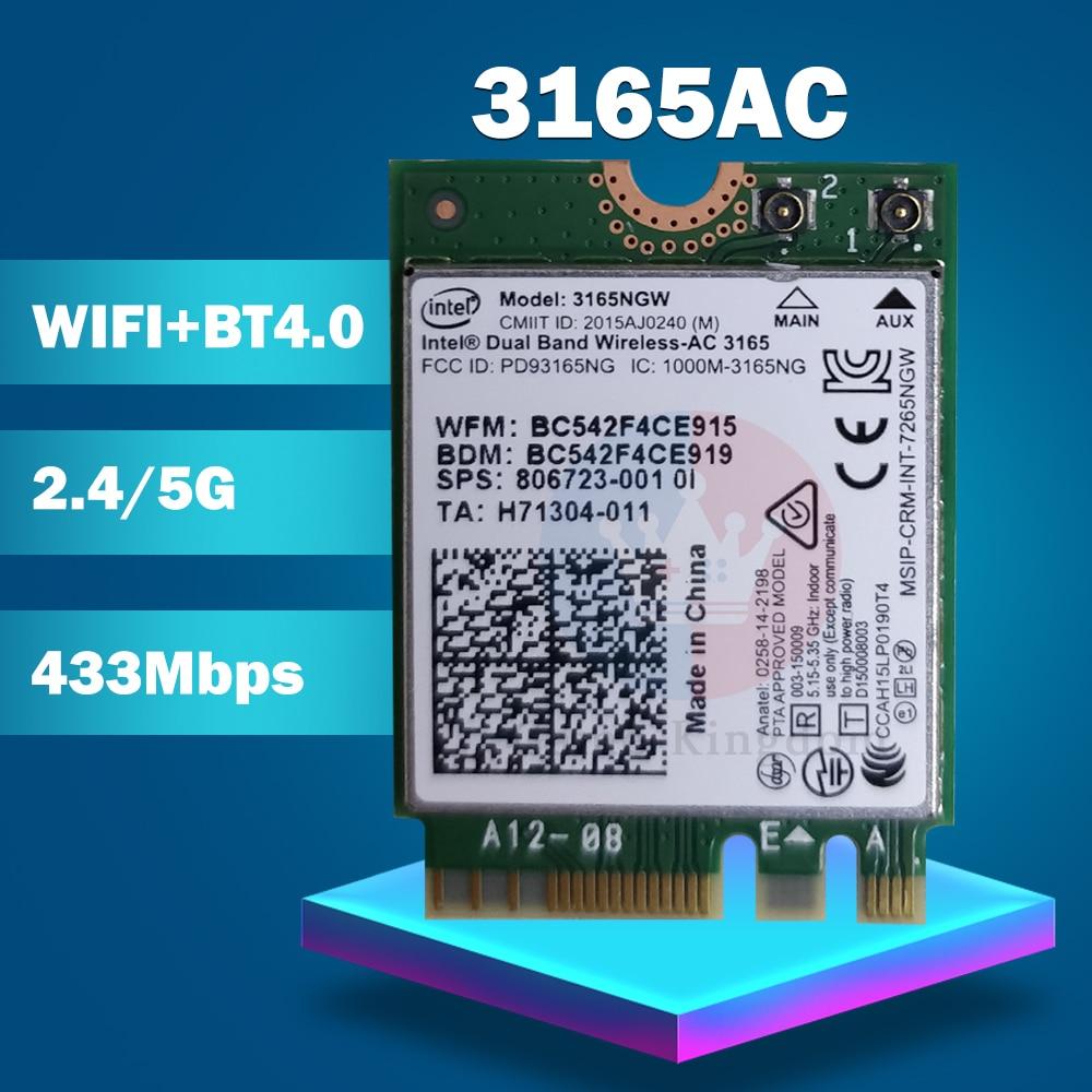 Wifi sem fio cartão para hp sps 806723-001 intel banda dupla sem fio-ac 3165 3165ac 3165ngw wifi bluetooth 4.0 ngff cartão 802.11ac