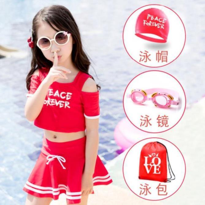 Infants Children WOMEN'S Swimsuit Split Type Two-piece Dress Swimsuit Chubby Leisure Travel Swimwear Fashion Pink Beach